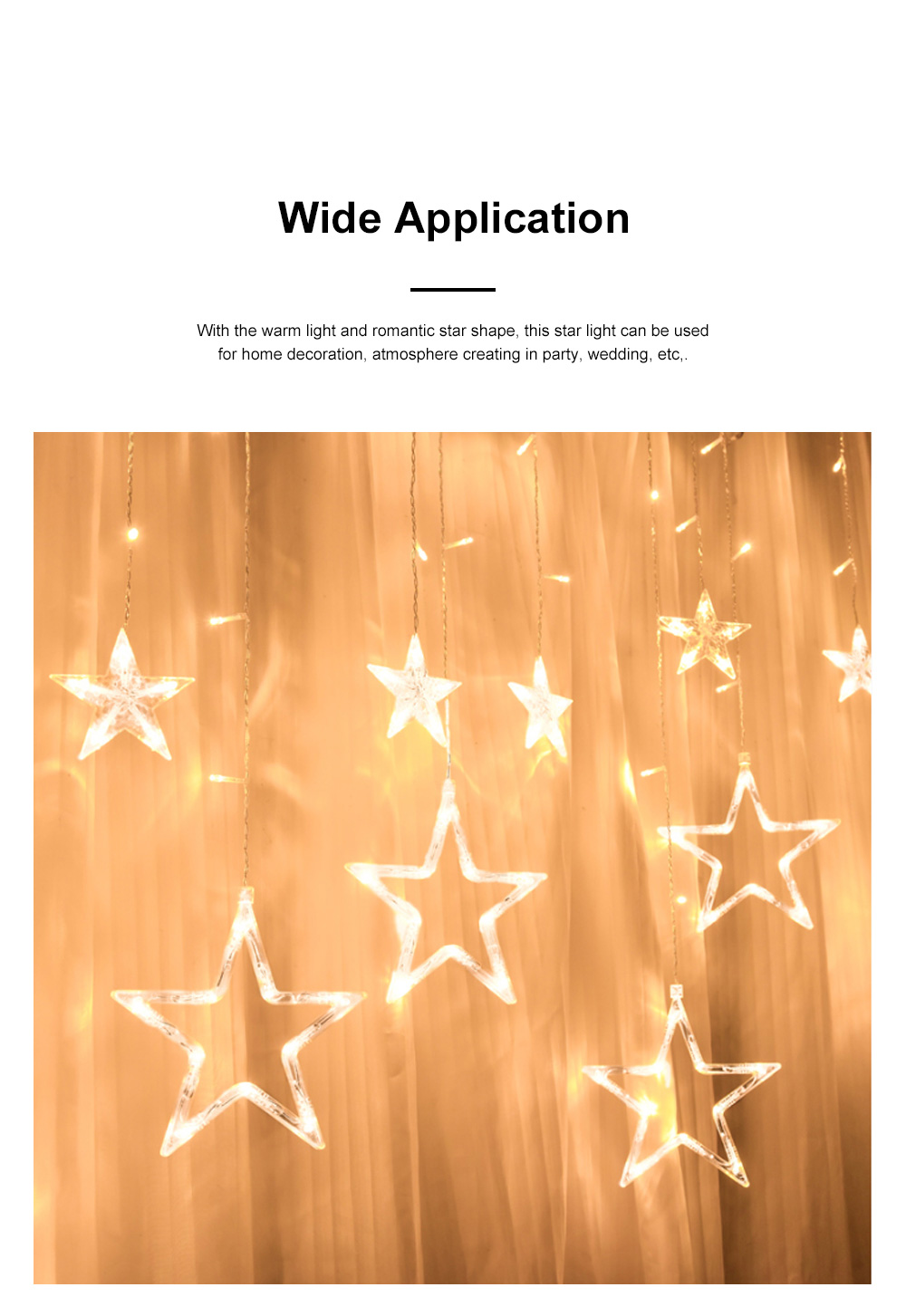 3m Twinkle Star String Lights Waterproof Star Curtain Lights with Color Changing for Wedding Christmas Home Garden Party Festival Decoration 3