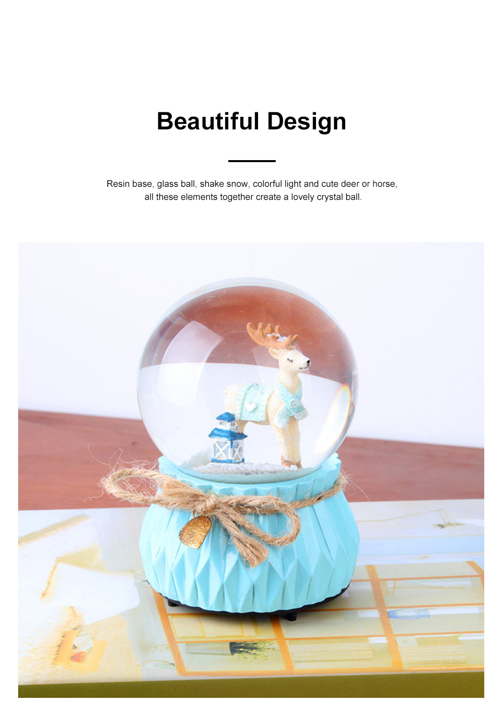 Deer Crystal Ball Rotating Musical Box Resin Base Snowflake Craft Ball for Birthday Gift Christmas Decoration 3
