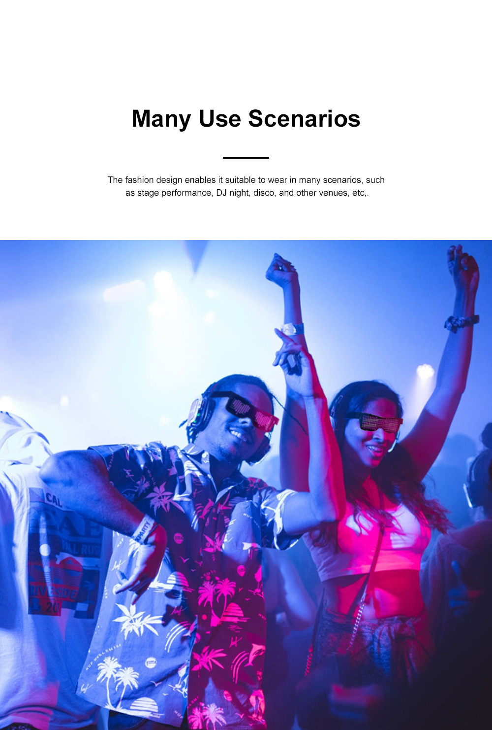 Magic LED Eyeglasses Bluetooth APP Control Luminous Glasses with Silicone Nose Pads for Party Stage Performance 8