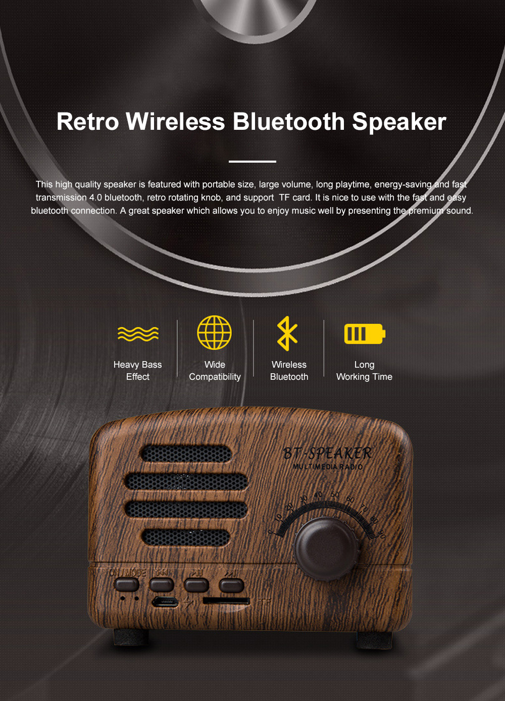 Retro BT-Speaker Multimedia Radio Portable Wireless Bluetooth Speaker Subwoofer with TF Card Slot 0