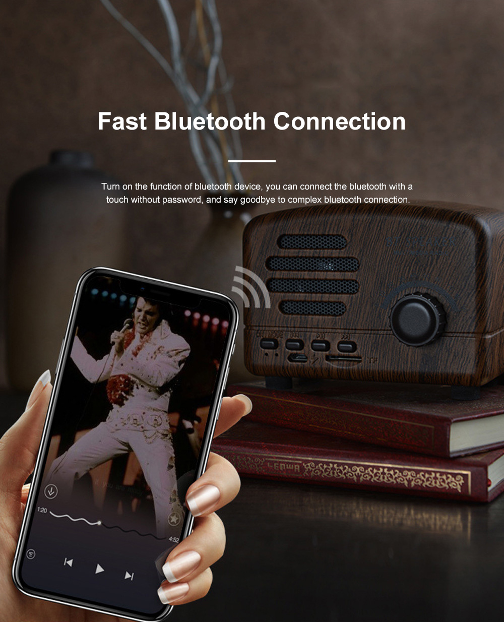 Retro BT-Speaker Multimedia Radio Portable Wireless Bluetooth Speaker Subwoofer with TF Card Slot 6