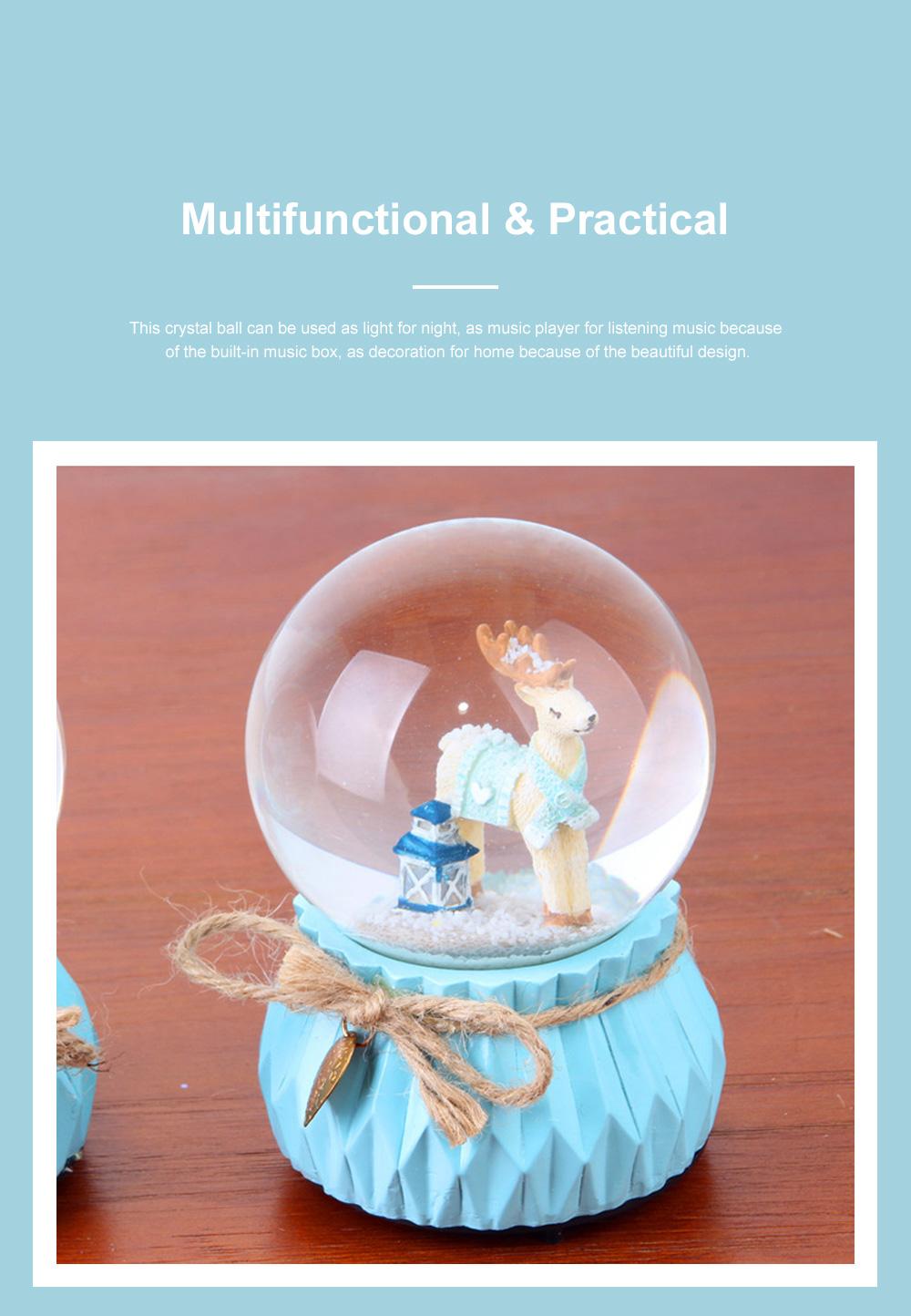 Deer Crystal Ball Rotating Musical Box Resin Base Snowflake Craft Ball for Birthday Gift Christmas Decoration 2