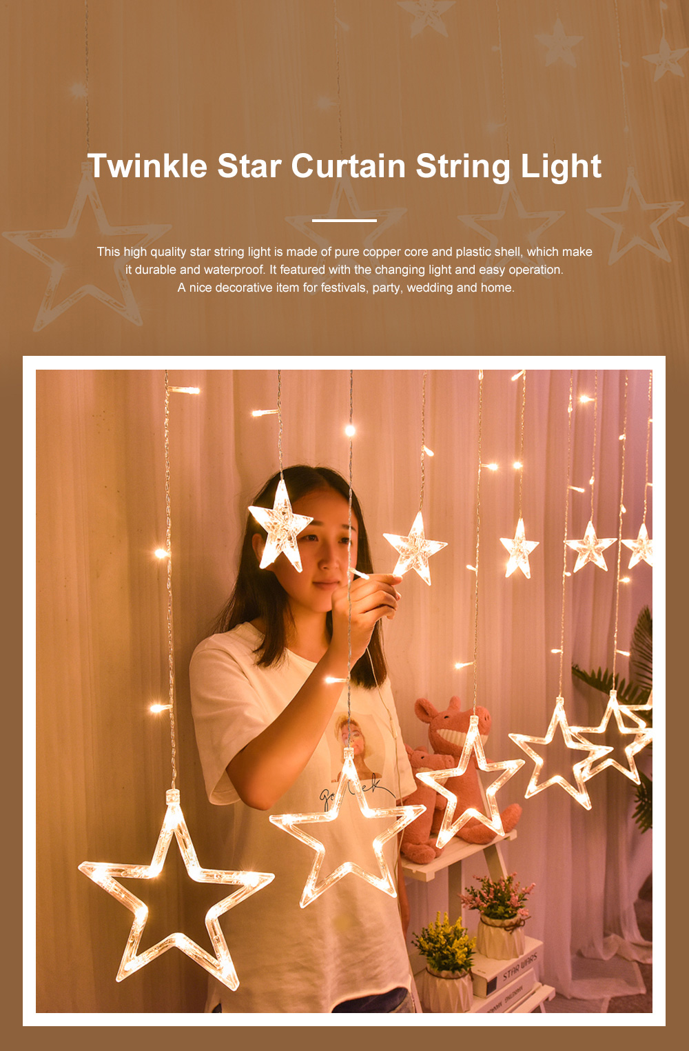 3m Twinkle Star String Lights Waterproof Star Curtain Lights with Color Changing for Wedding Christmas Home Garden Party Festival Decoration 0