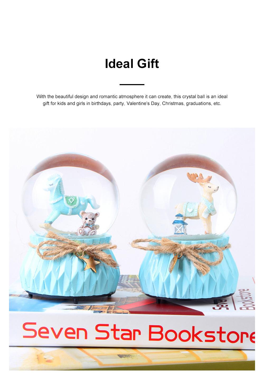 Deer Crystal Ball Rotating Musical Box Resin Base Snowflake Craft Ball for Birthday Gift Christmas Decoration 1