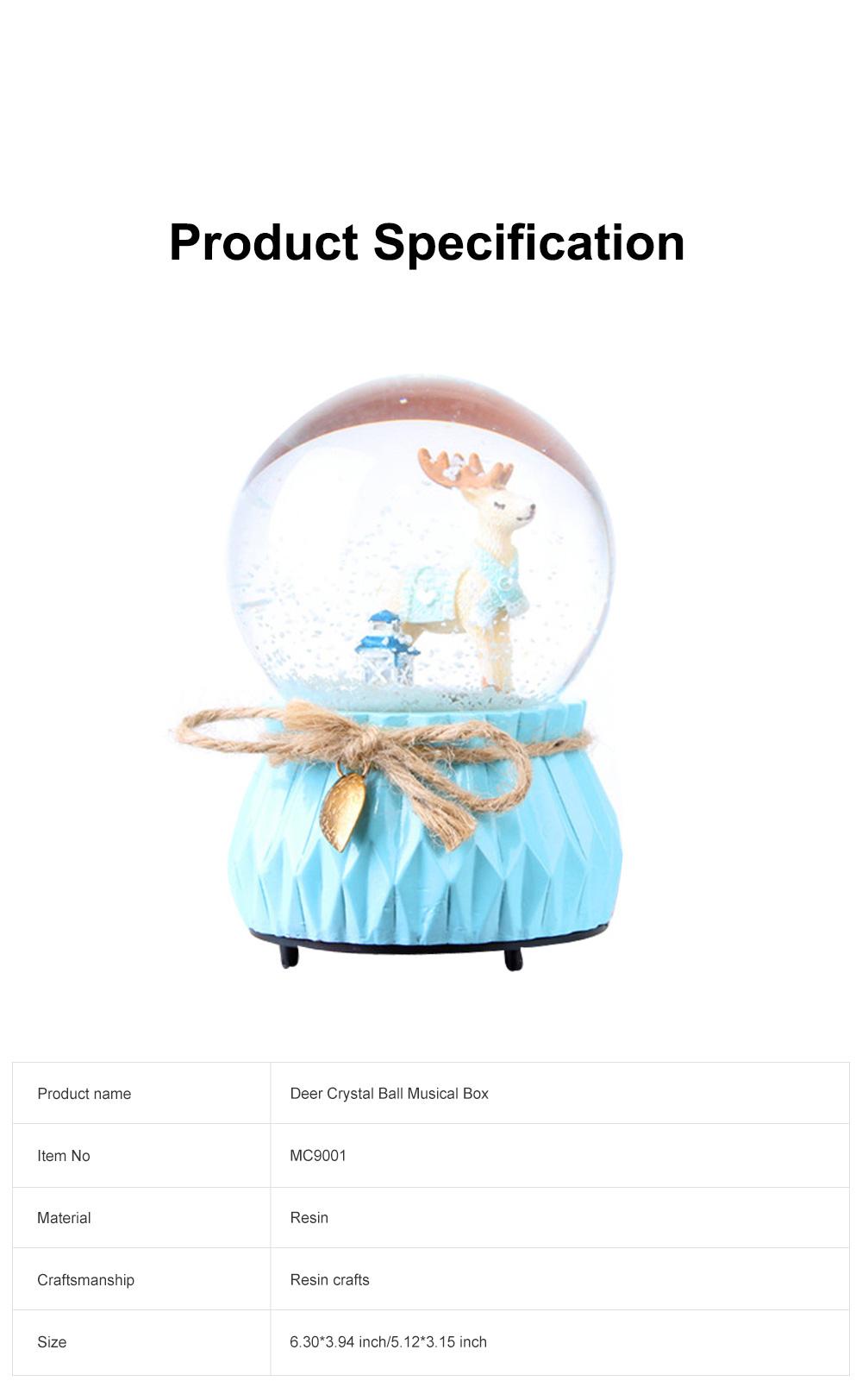 Deer Crystal Ball Rotating Musical Box Resin Base Snowflake Craft Ball for Birthday Gift Christmas Decoration 6