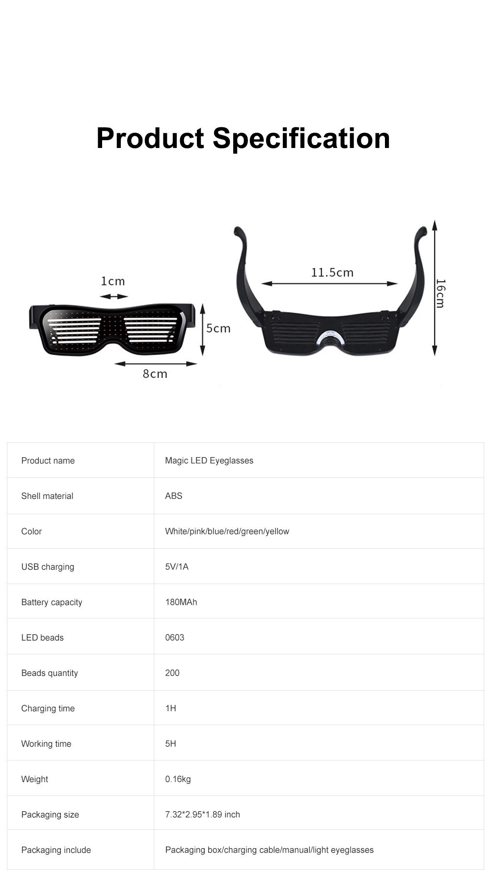Magic LED Eyeglasses Bluetooth APP Control Luminous Glasses with Silicone Nose Pads for Party Stage Performance 9