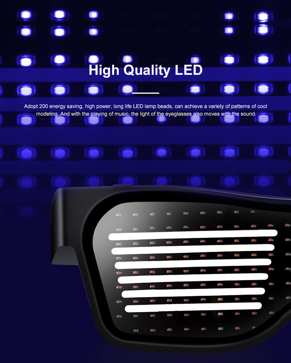 Magic LED Eyeglasses Bluetooth APP Control Luminous Glasses with Silicone Nose Pads for Party Stage Performance 2