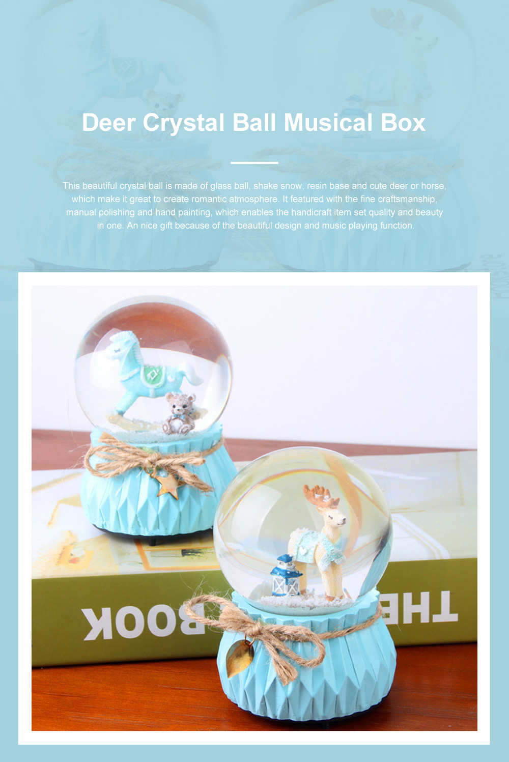 Deer Crystal Ball Rotating Musical Box Resin Base Snowflake Craft Ball for Birthday Gift Christmas Decoration 0