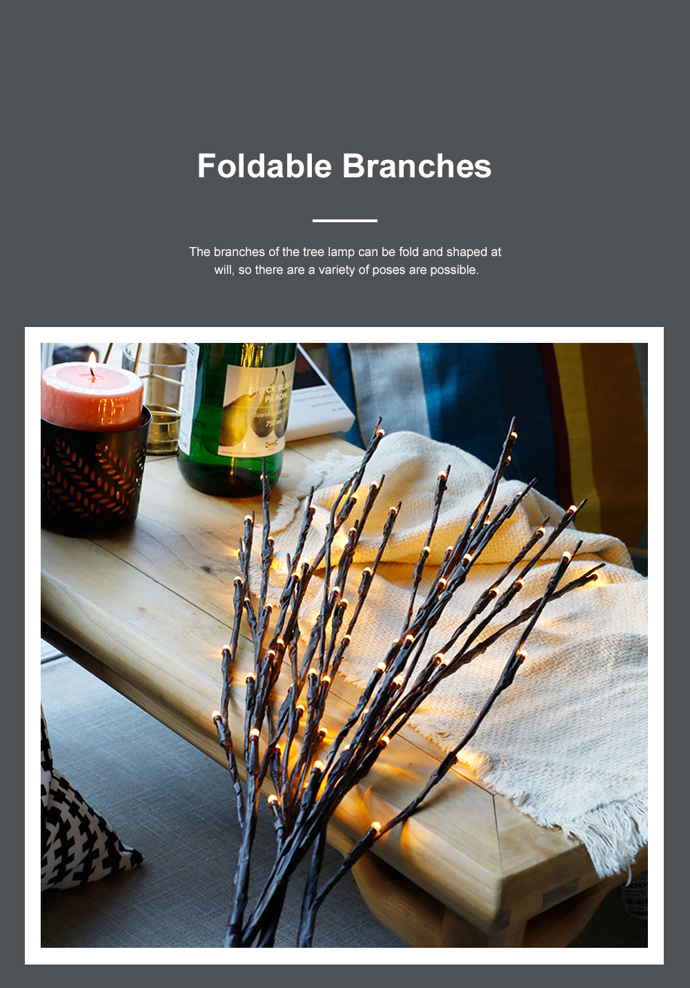 5Pack 10Pack LED Lantern Branch Light Battery Powered Decorative Floral Lights with 20 LEDs for Home Christmas Decoration Party Festival 2