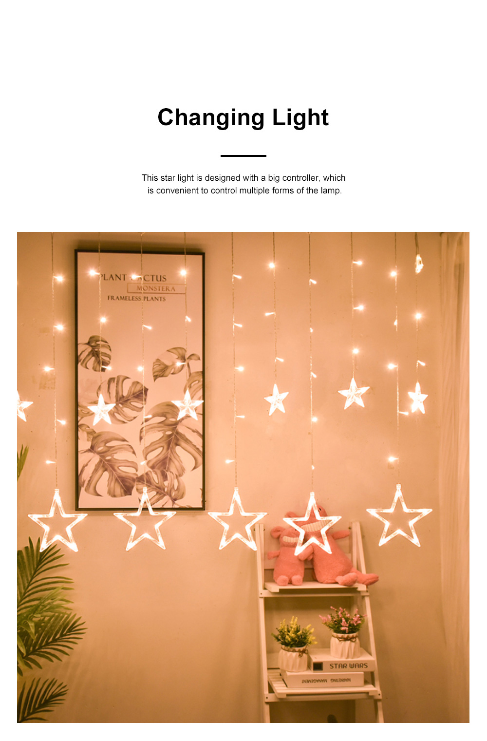 3m Twinkle Star String Lights Waterproof Star Curtain Lights with Color Changing for Wedding Christmas Home Garden Party Festival Decoration 1