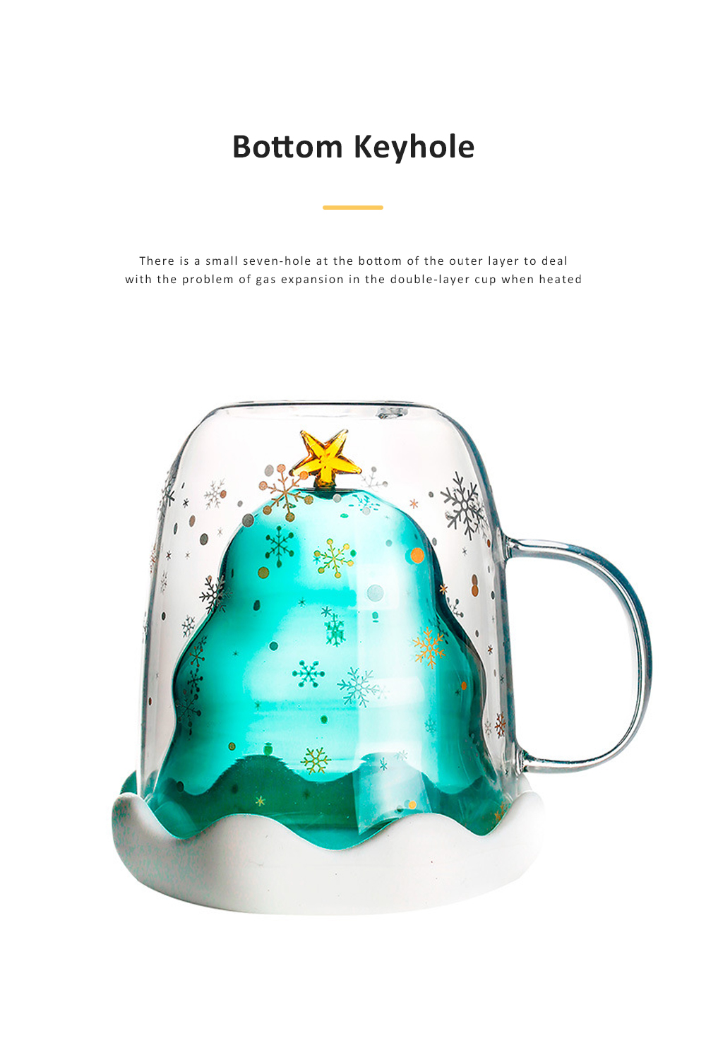 Christmas Tree Shape Double Wall Glass Coffee Cup With Silicone Lid High Temperature Insulating Hot Water Cup 1