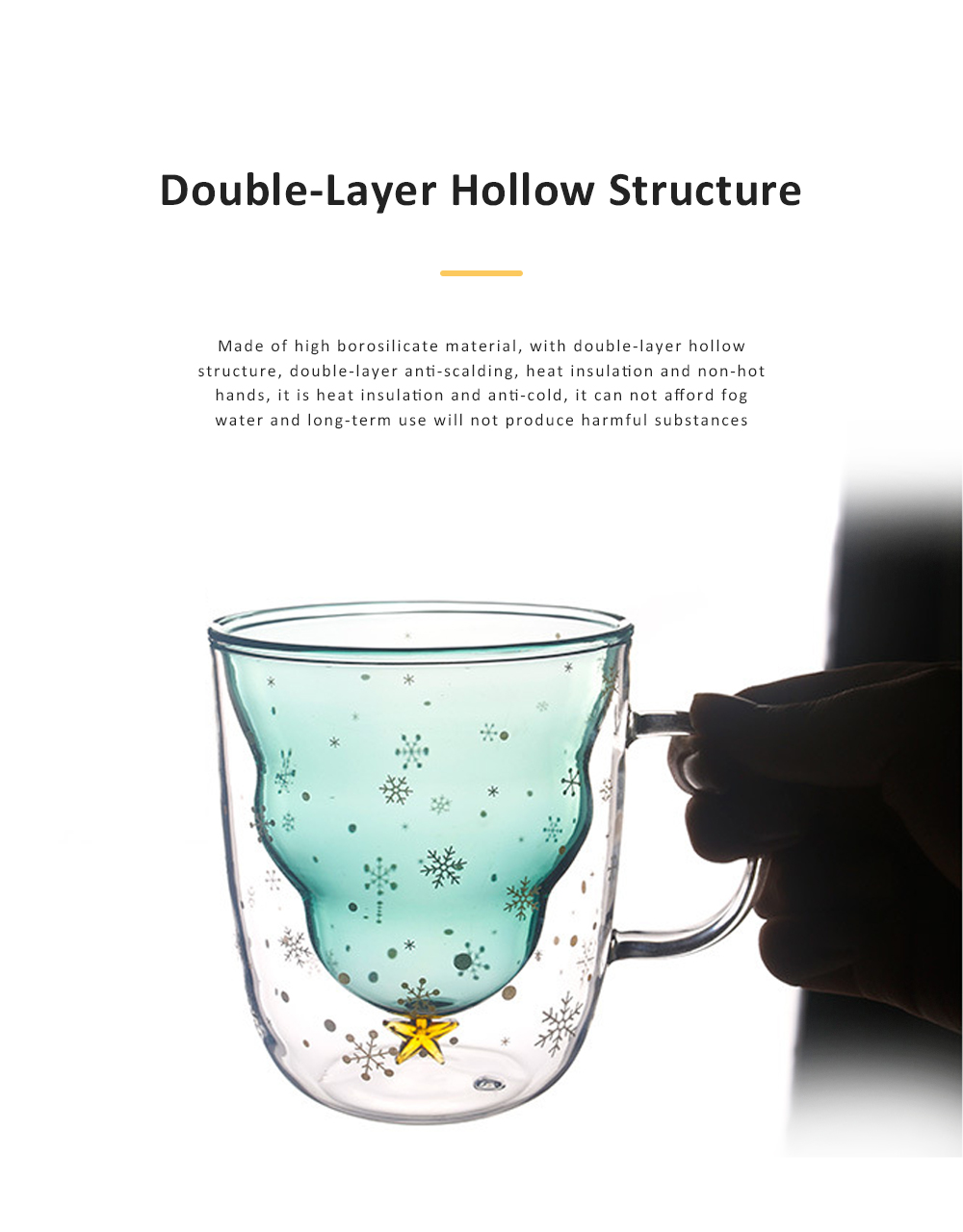 Christmas Tree Shape Double Wall Glass Coffee Cup With Silicone Lid High Temperature Insulating Hot Water Cup 6