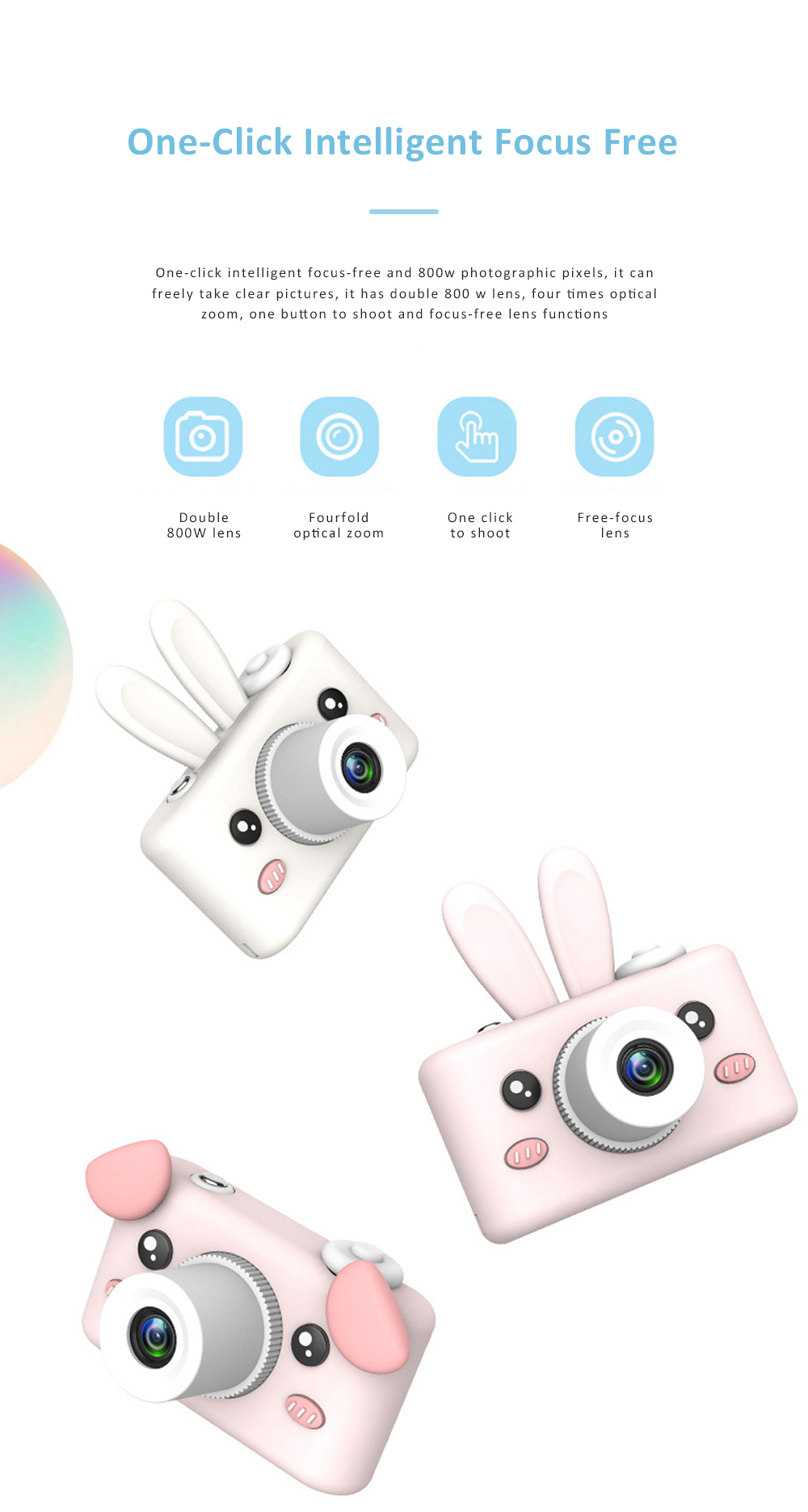 2inch HD Screen Electronic Camera For Kids Children Creative Digital Camera Tft Display Video Recording Kids Camera With Silicone Soft Cover 4