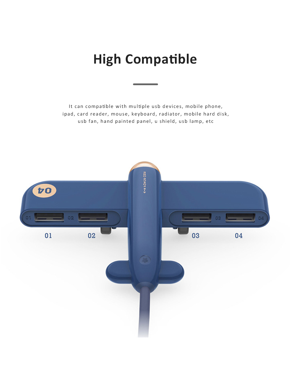New Ideas Stylish Aircraft Line Divider 4 Ports 2.0 Colorful Gift USB Hub 4 Ports 3.0 High Speed Micro Charging USB Hub 1