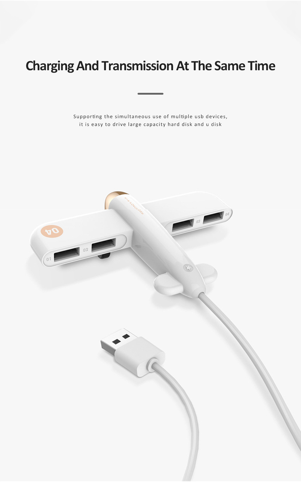 New Ideas Stylish Aircraft Line Divider 4 Ports 2.0 Colorful Gift USB Hub 4 Ports 3.0 High Speed Micro Charging USB Hub 5