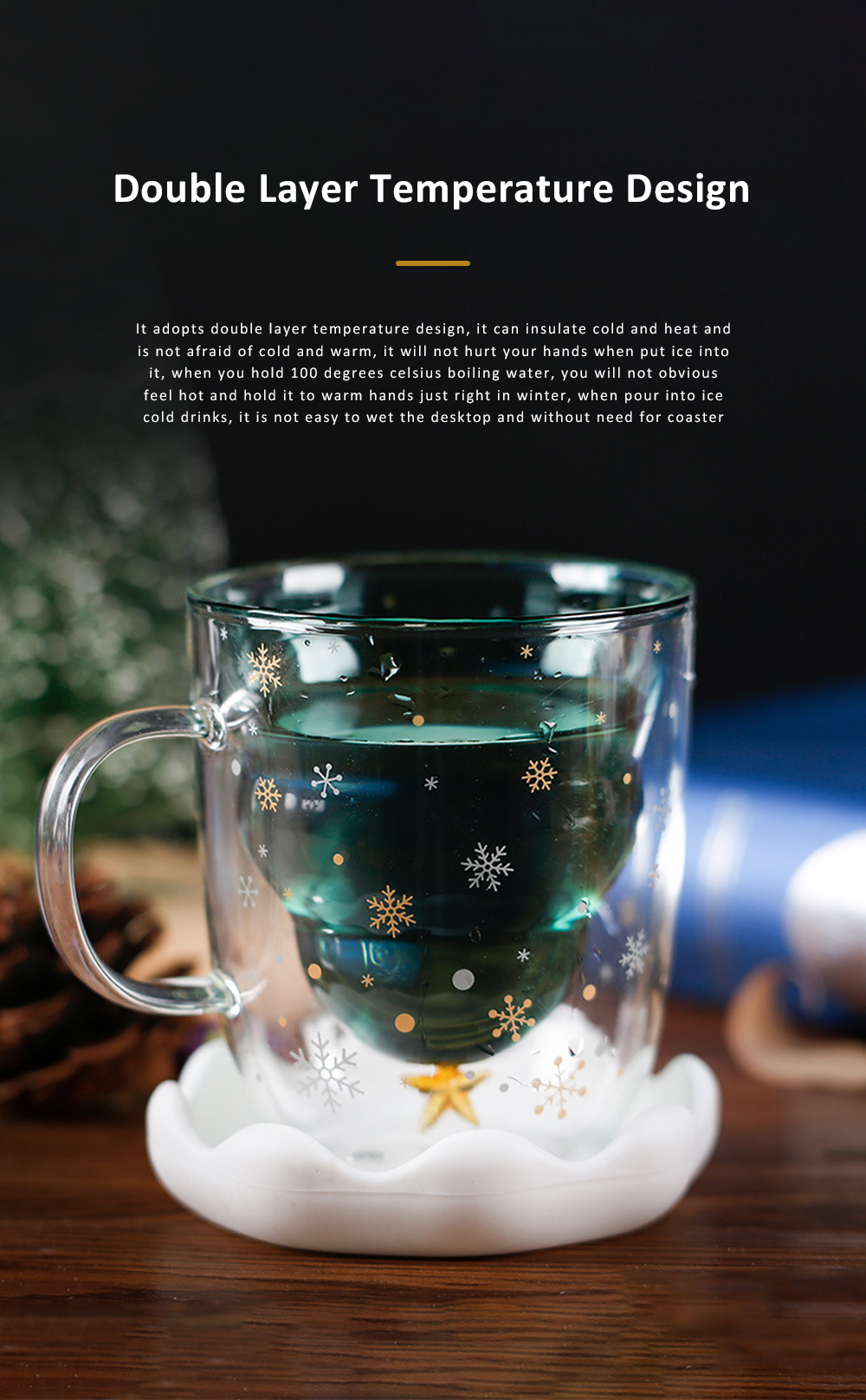 Christmas Tree Shape Double Wall Glass Coffee Cup With Silicone Lid High Temperature Insulating Hot Water Cup 7
