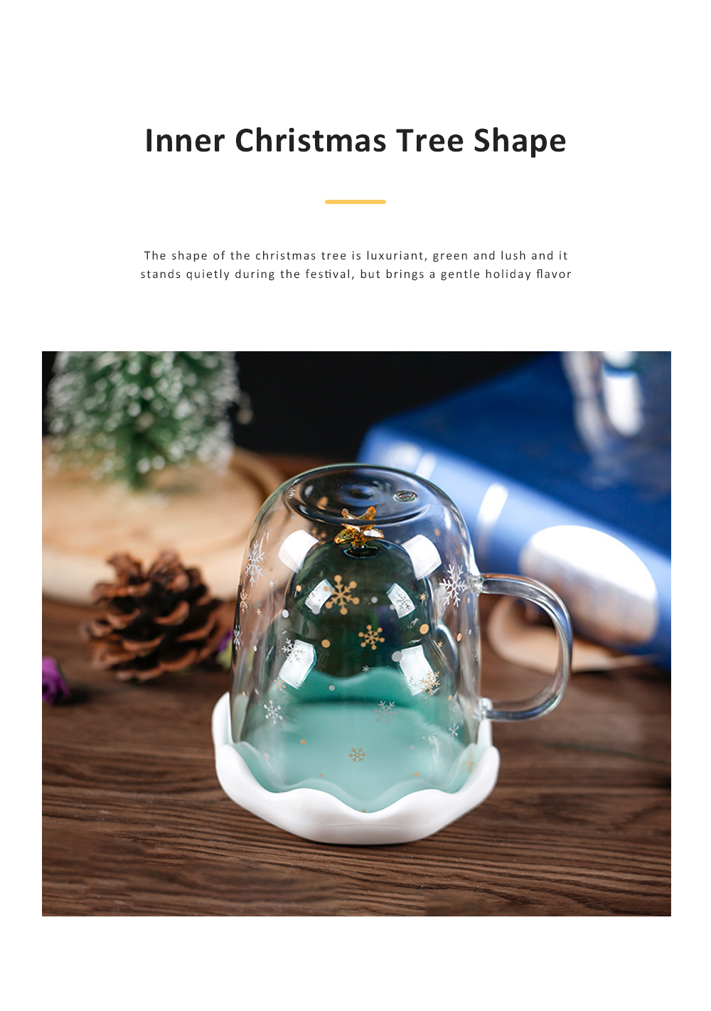 Christmas Tree Shape Double Wall Glass Coffee Cup With Silicone Lid High Temperature Insulating Hot Water Cup 3