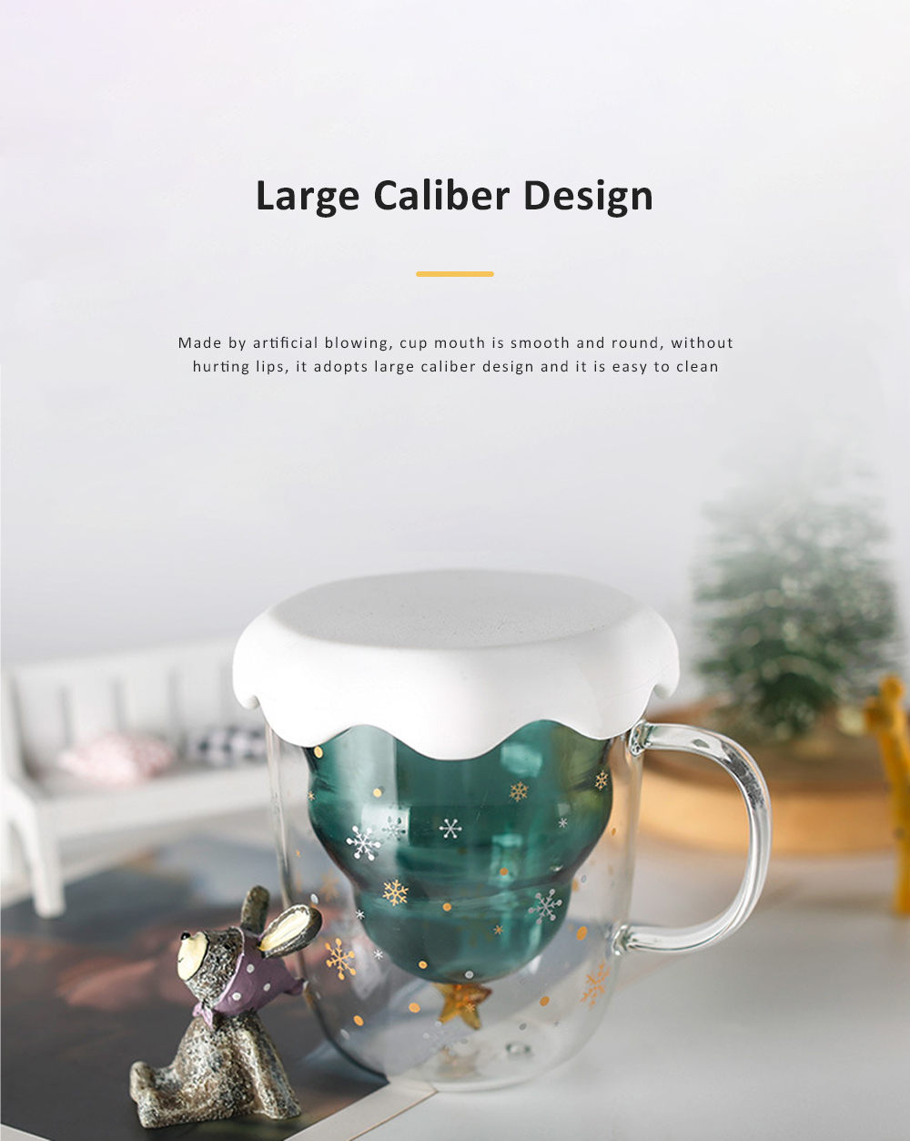 Christmas Tree Shape Double Wall Glass Coffee Cup With Silicone Lid High Temperature Insulating Hot Water Cup 5