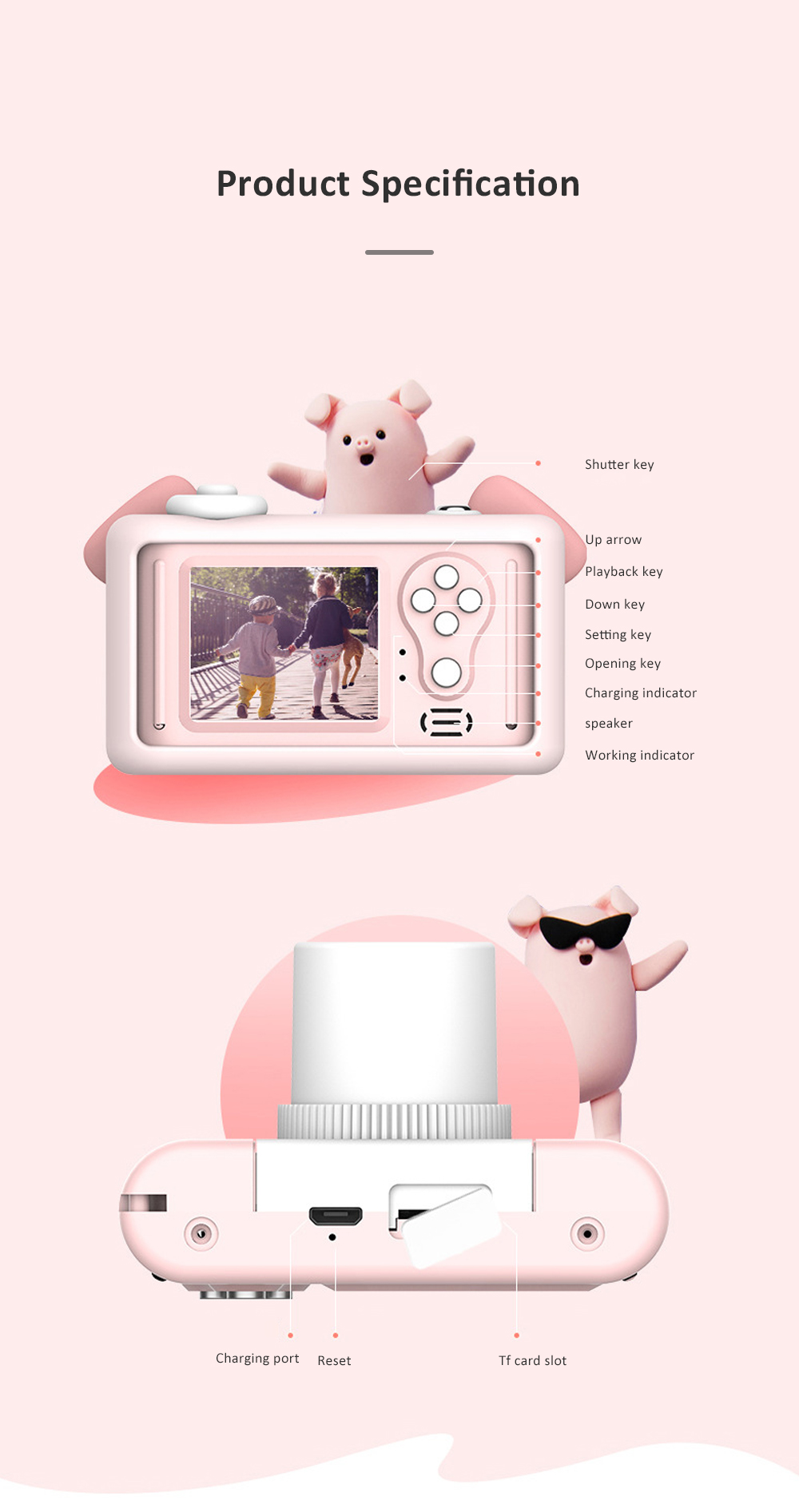 2inch HD Screen Electronic Camera For Kids Children Creative Digital Camera Tft Display Video Recording Kids Camera With Silicone Soft Cover 9