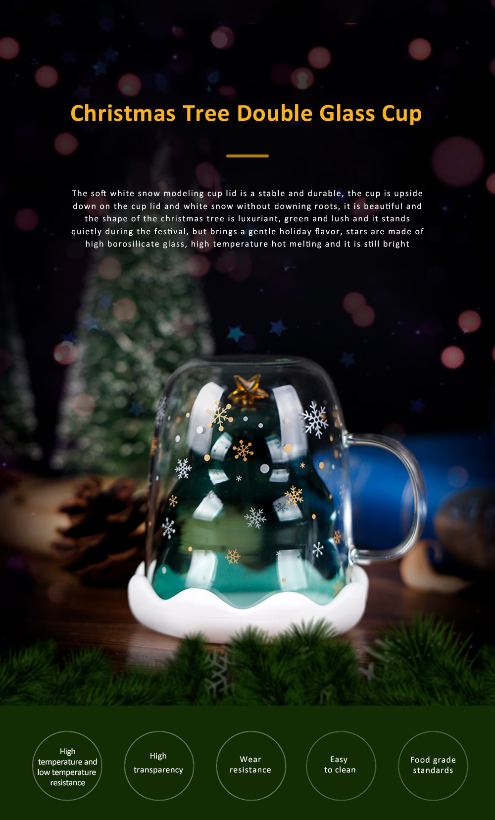 Christmas Tree Shape Double Wall Glass Coffee Cup With Silicone Lid High Temperature Insulating Hot Water Cup 0