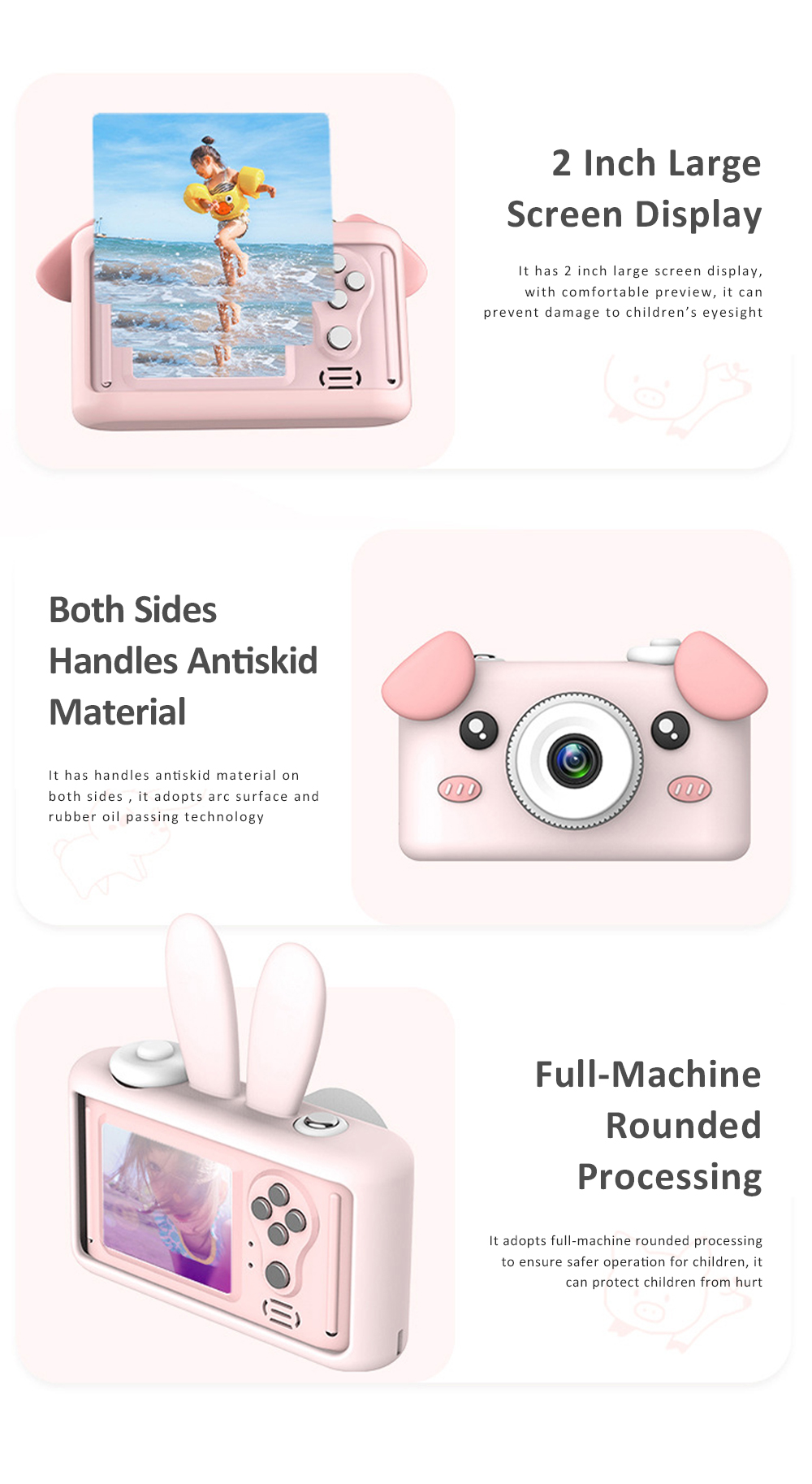 2inch HD Screen Electronic Camera For Kids Children Creative Digital Camera Tft Display Video Recording Kids Camera With Silicone Soft Cover 8