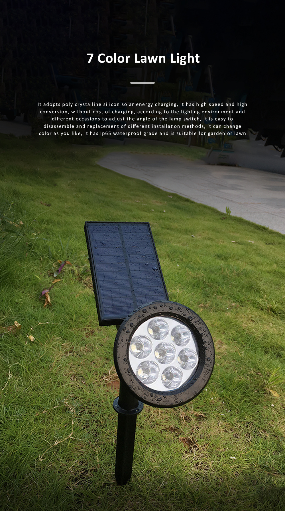 7 LED Outdoor Color Changing Landscape Lights Outdoor Garden Solar Path Light Powered LED Lamp Lawn Light 0