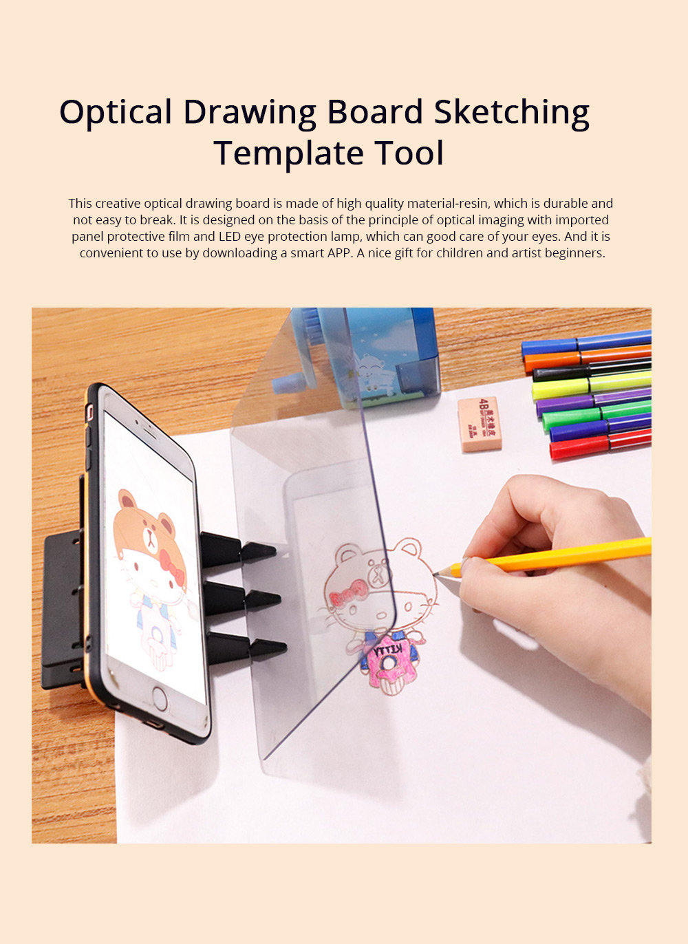 Optical Drawing Board Adjustable Brightness Portable Sketching Template Tool Image Projection Board for Artists Beginners 0