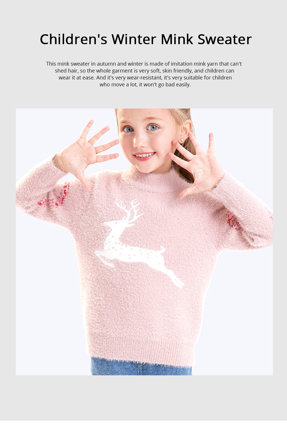 Children's Mink Autumn Warm Coat Winter Girl's Sweater 2019 New Style Girl's Pullover Thickened Top Christmas Gift 0