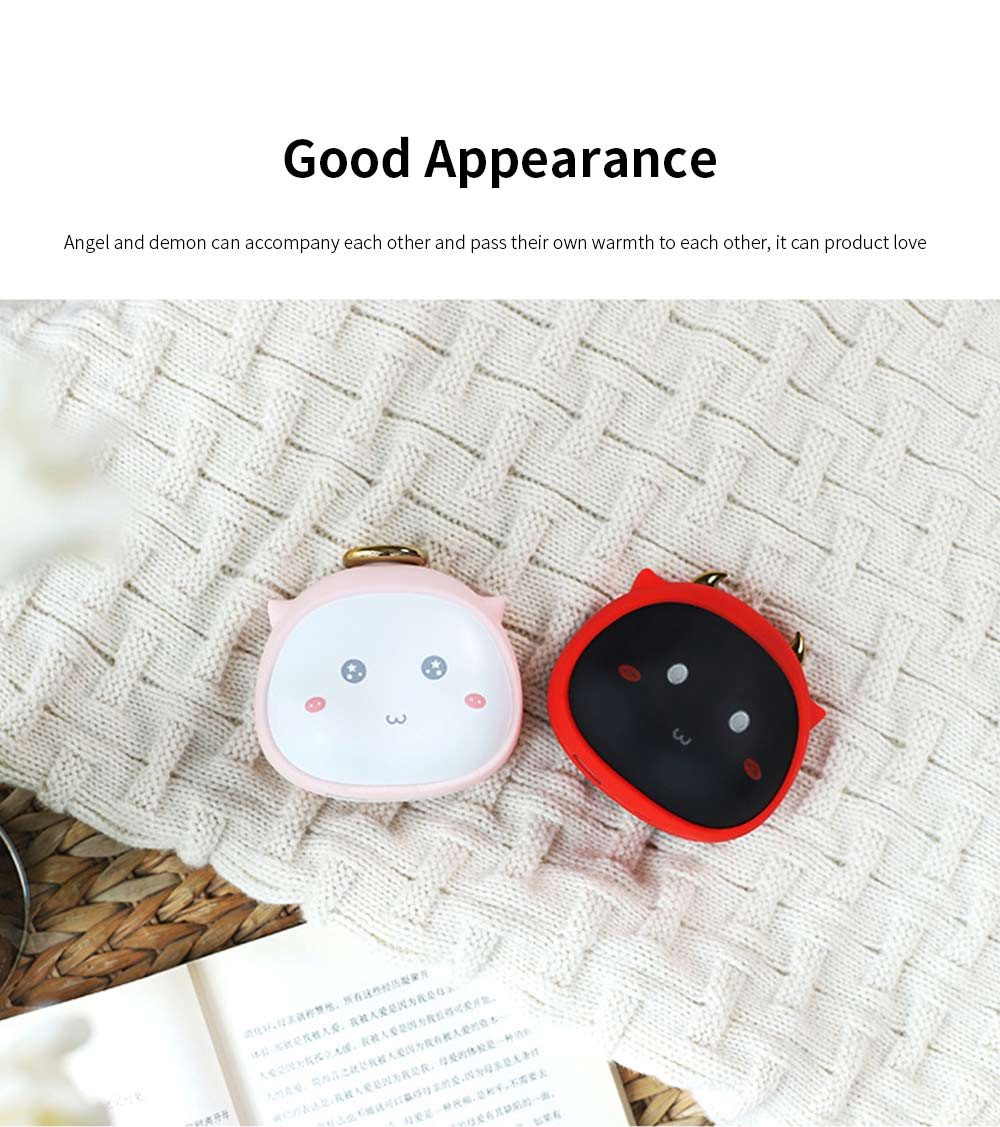 Portable Mini USB Charging Hand Warmer Power Supply Angel Demon Christmas Gifts Body Power for Cold Weather Heating 4
