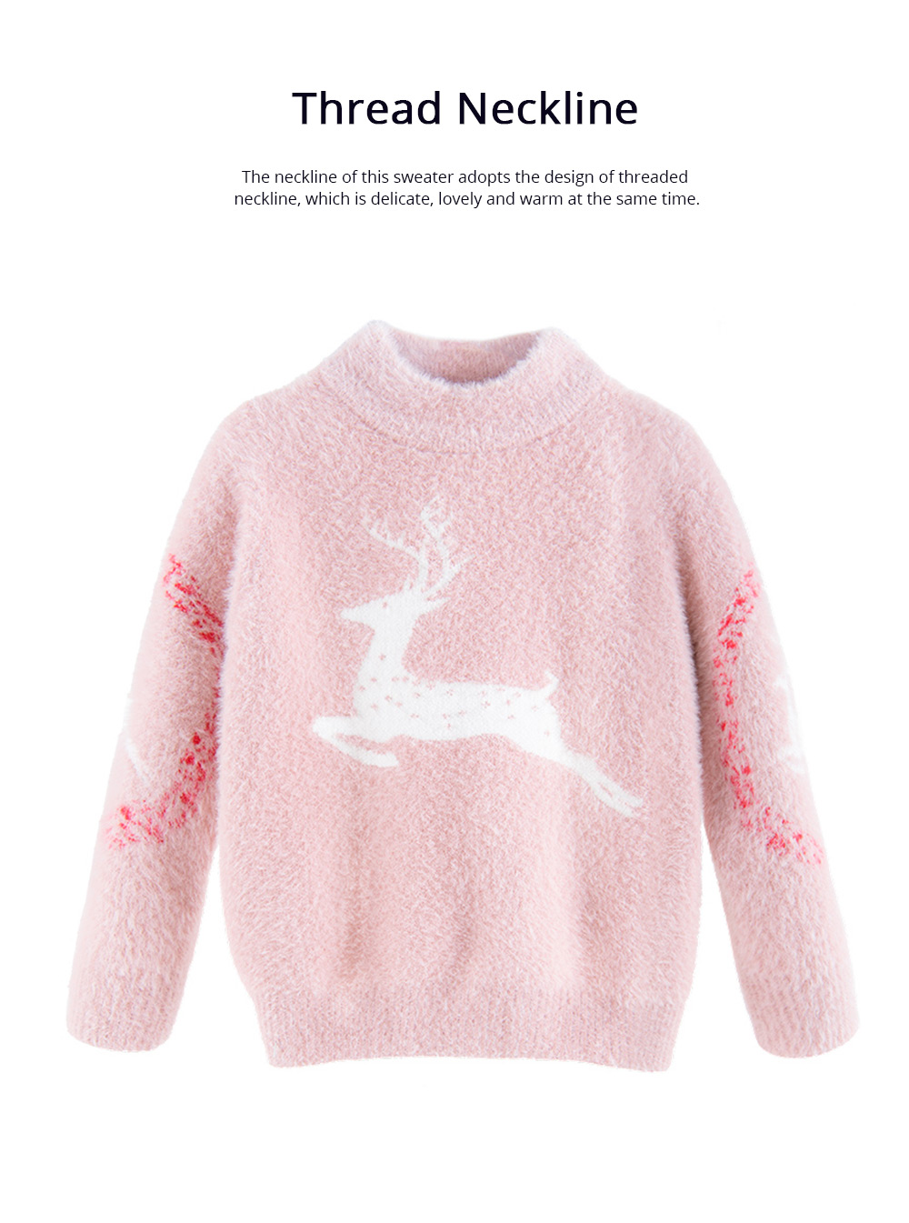 Children's Mink Autumn Warm Coat Winter Girl's Sweater 2019 New Style Girl's Pullover Thickened Top Christmas Gift 5