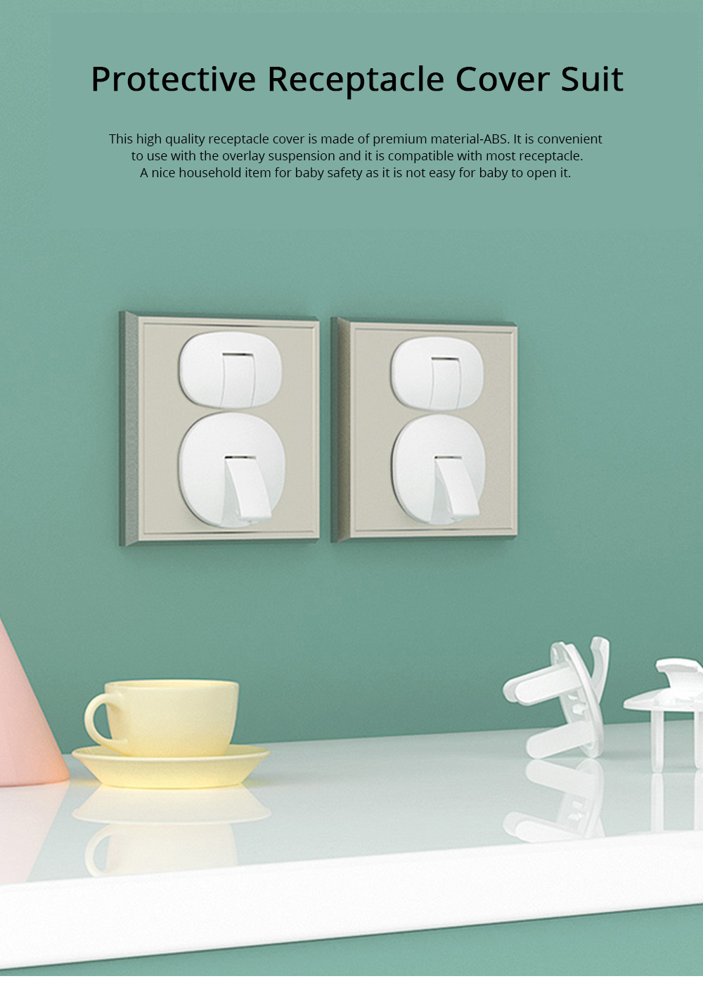 Receptacle Protective Cover Suite Household Receptacle Cover with Overlay Suspension Compatible with Most Sockets 0