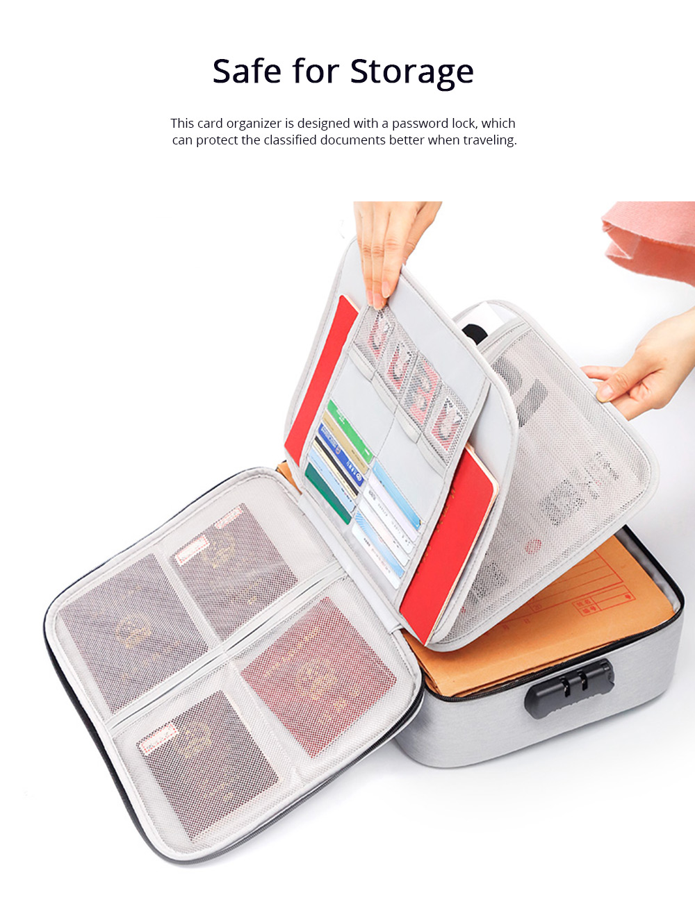 Multifunctional Card Organizer Kit Document Package with Large Capacity and Detachable Inter-layer Passport Packing Box 5