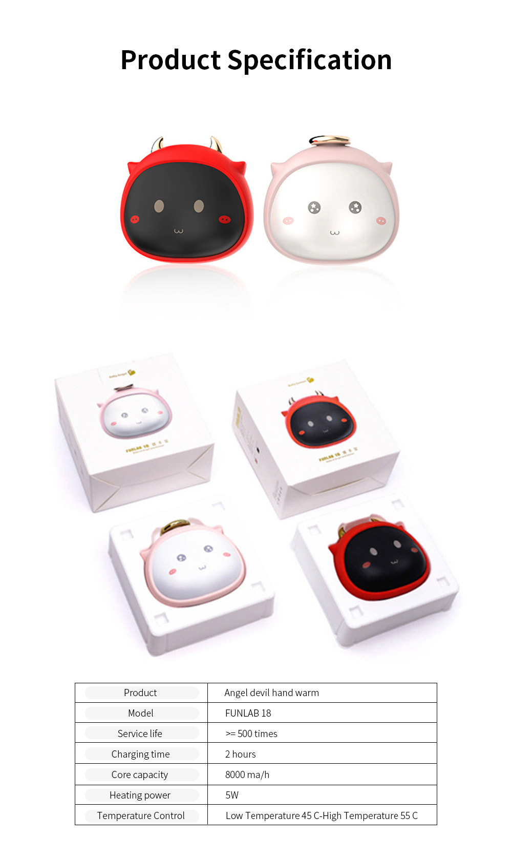 Portable Mini USB Charging Hand Warmer Power Supply Angel Demon Christmas Gifts Body Power for Cold Weather Heating 8