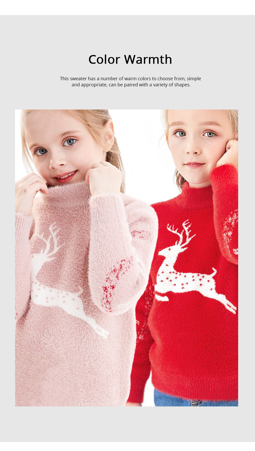 Children's Mink Autumn Warm Coat Winter Girl's Sweater 2019 New Style Girl's Pullover Thickened Top Christmas Gift 4