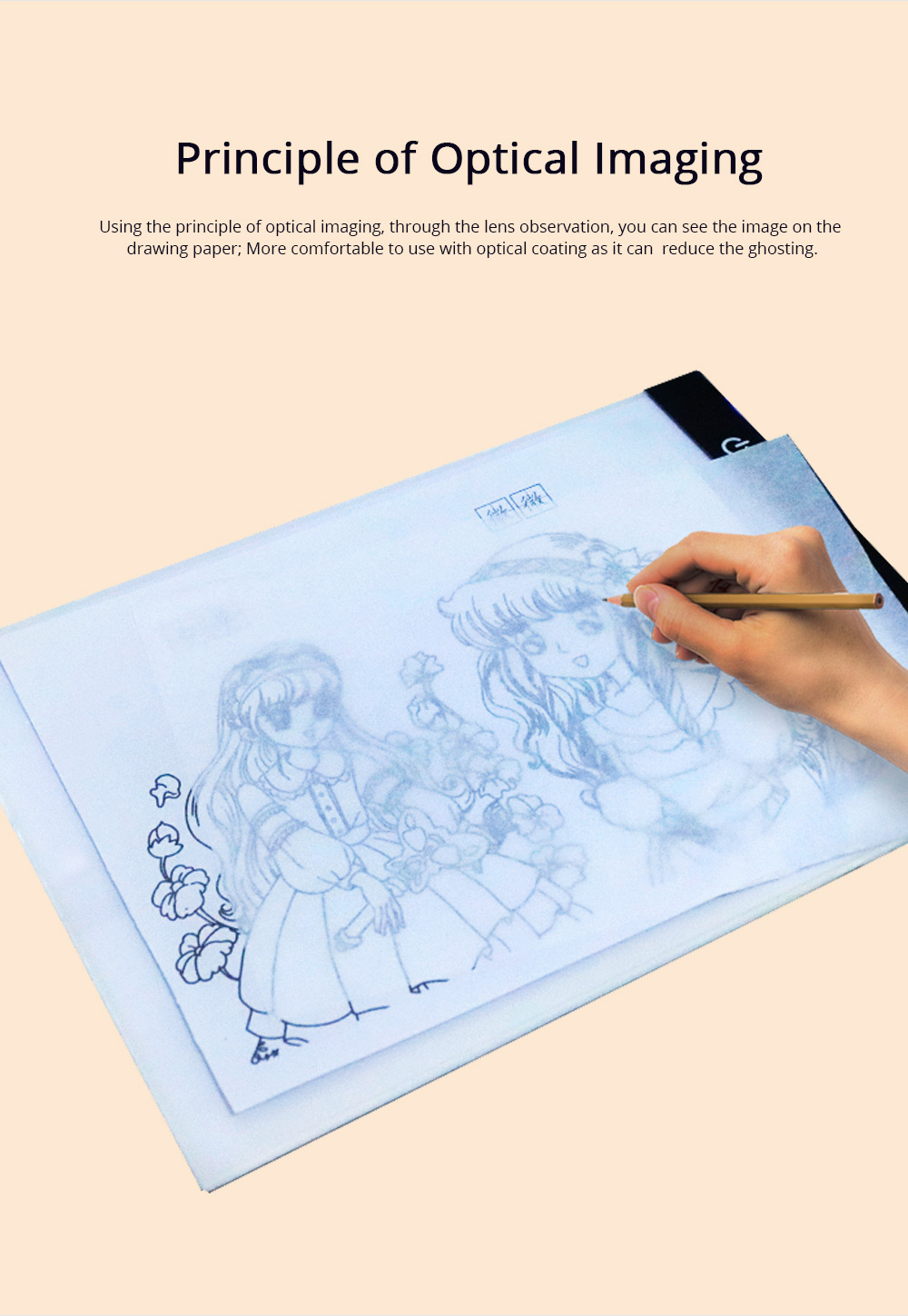 Optical Drawing Board Adjustable Brightness Portable Sketching Template Tool Image Projection Board for Artists Beginners 4