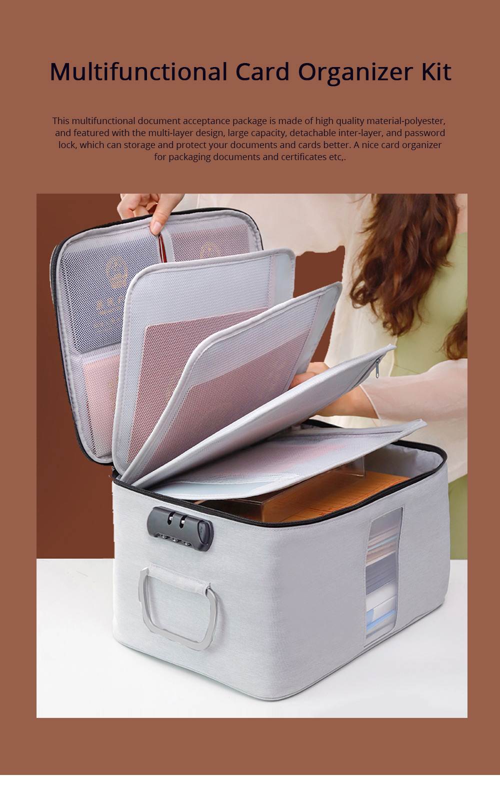 Multifunctional Card Organizer Kit Document Package with Large Capacity and Detachable Inter-layer Passport Packing Box 0