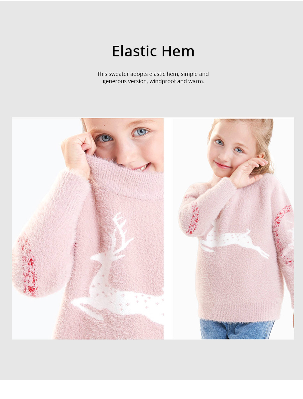 Children's Mink Autumn Warm Coat Winter Girl's Sweater 2019 New Style Girl's Pullover Thickened Top Christmas Gift 6