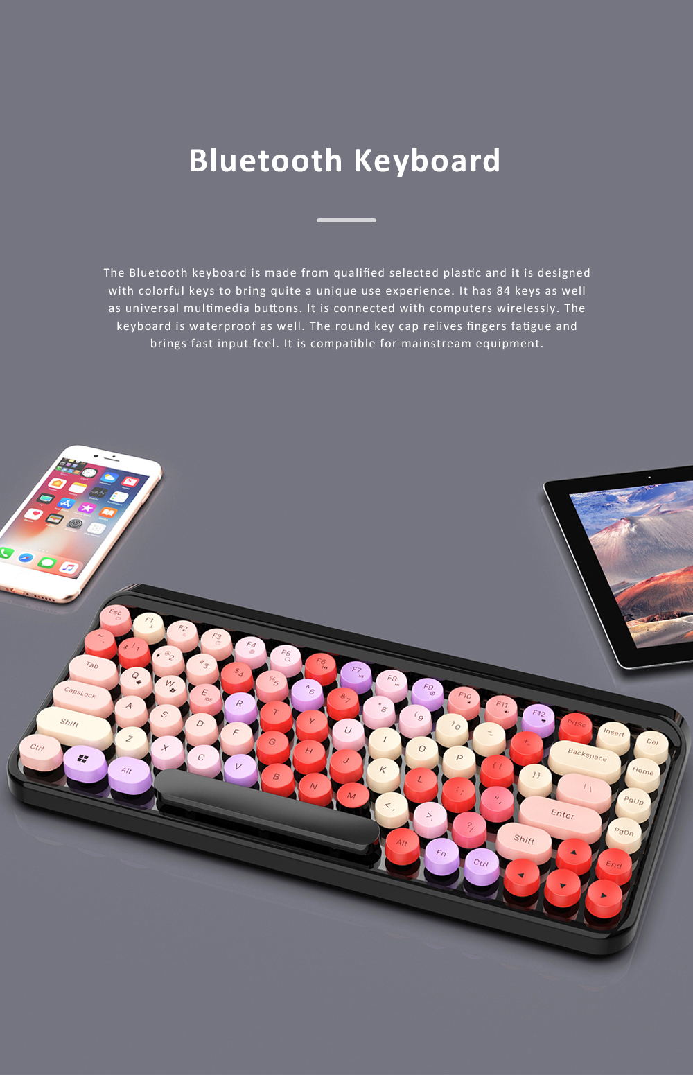 Retro Colorful Punk Bluetooth Keyboard for Office Household Use Waterproof and Mute Keyboard Compatible for Windows, iOS, Android 0