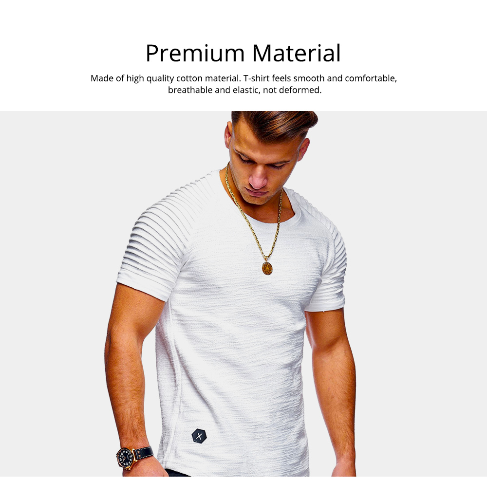 Men's Pure Color T-shirt Wrinkled Short Sleeve Shirt Fashion Stretch Sports Quick-dry T-Shirt 3