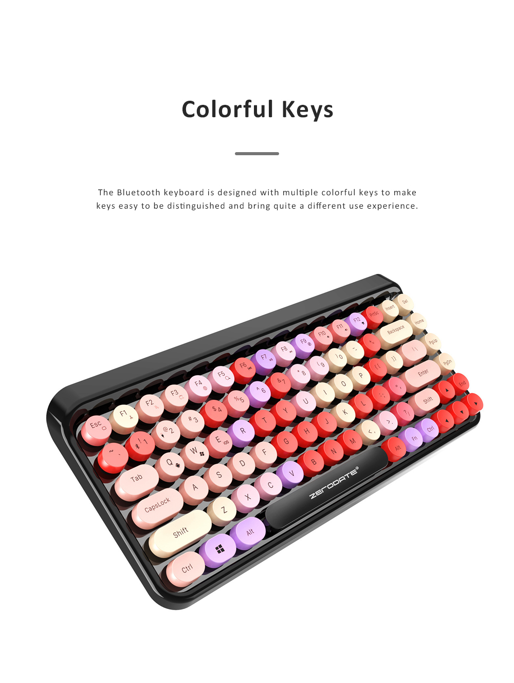 Retro Colorful Punk Bluetooth Keyboard for Office Household Use Waterproof and Mute Keyboard Compatible for Windows, iOS, Android 1