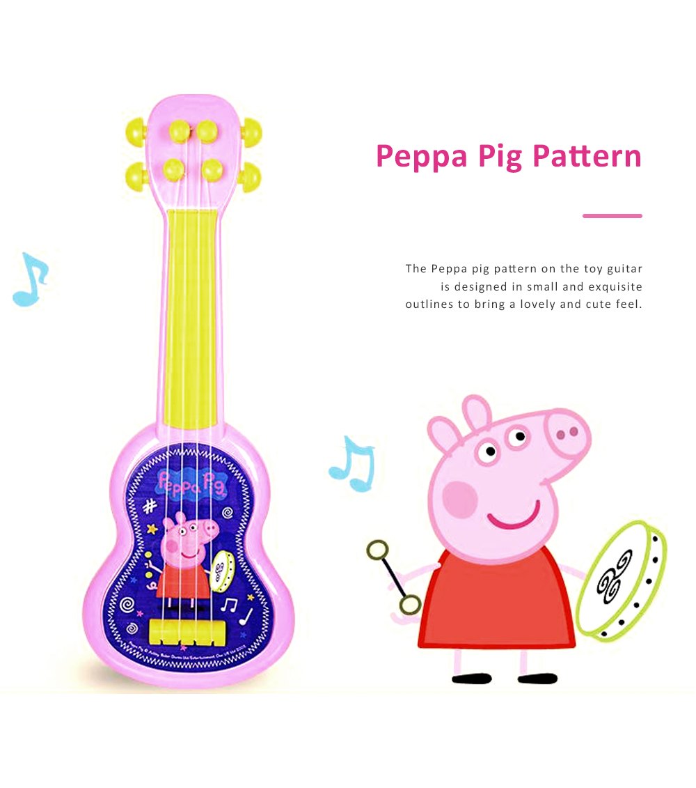 Simulated Mini Guitar Toy for Kids' Gift Choice Peppa Pig Pattern Guitar Toy Small Size Musical Instrument Plaything 2