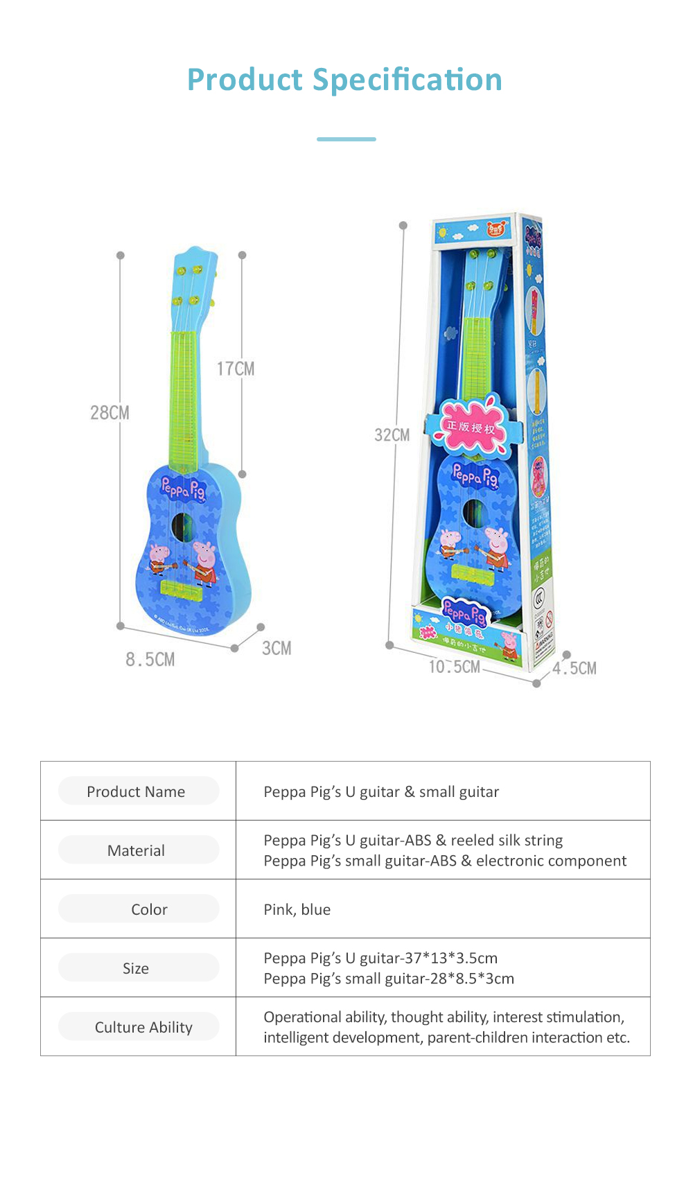 Simulated Mini Guitar Toy for Kids' Gift Choice Peppa Pig Pattern Guitar Toy Small Size Musical Instrument Plaything 7