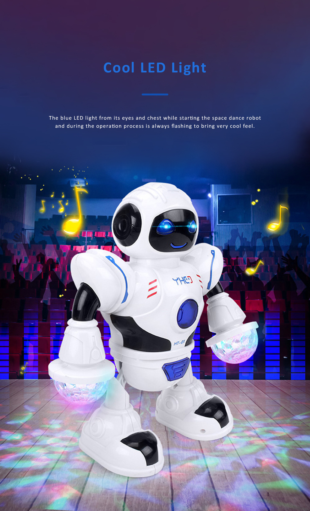 Space Dance Robot for Kids' Gift With LED Light Dancing Robot Kids' Electronic Toy Battery-operated Dance Robot 4