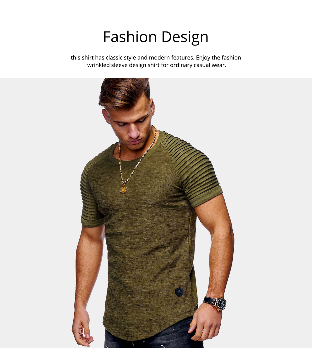 Men's Pure Color T-shirt Wrinkled Short Sleeve Shirt Fashion Stretch Sports Quick-dry T-Shirt 1