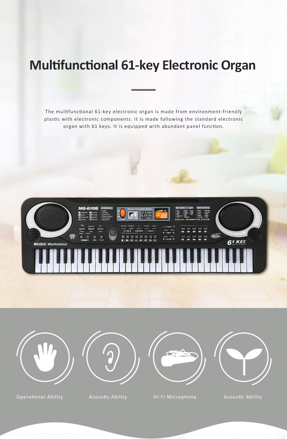 Multifunctional Electronic Organ Toy for Baby's Early Education Simulated 61-key Musical Instrument Toy Children Electronic Piano Organ 0