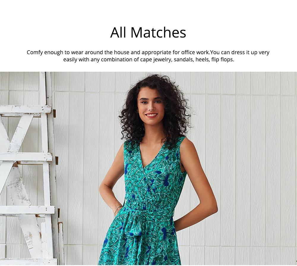 Women Floral Printed Maxi Dress, Deep V-neck Long Dresses for Ladies, Beach Dresses Bohemian Side Split Dresses 1