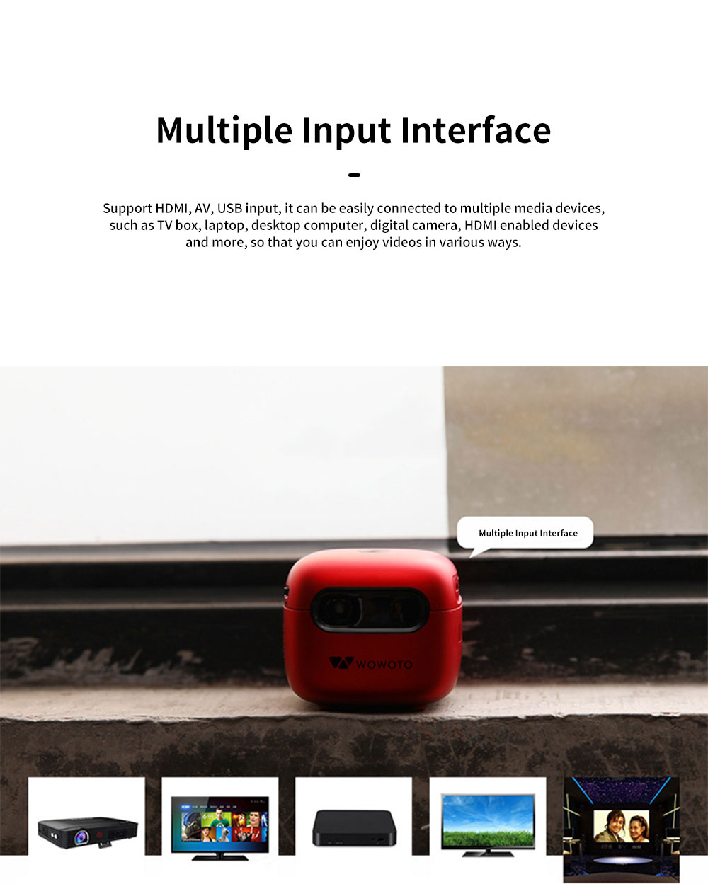 Q6 Mini Projector Portable HD 1080P Small Multimedia Projector for Home Theater Entertainment Games Parties Movie Projectors Support Laptop PC Smart Phone 3