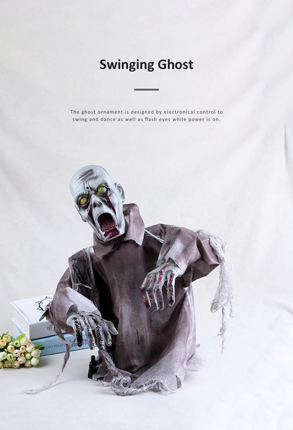 New Style Swinging Ghost Ornament for Room Escape Decoration Large Size Zombie Toy Electronic Horrible Standing Dancing Ghost Zombie Props 4