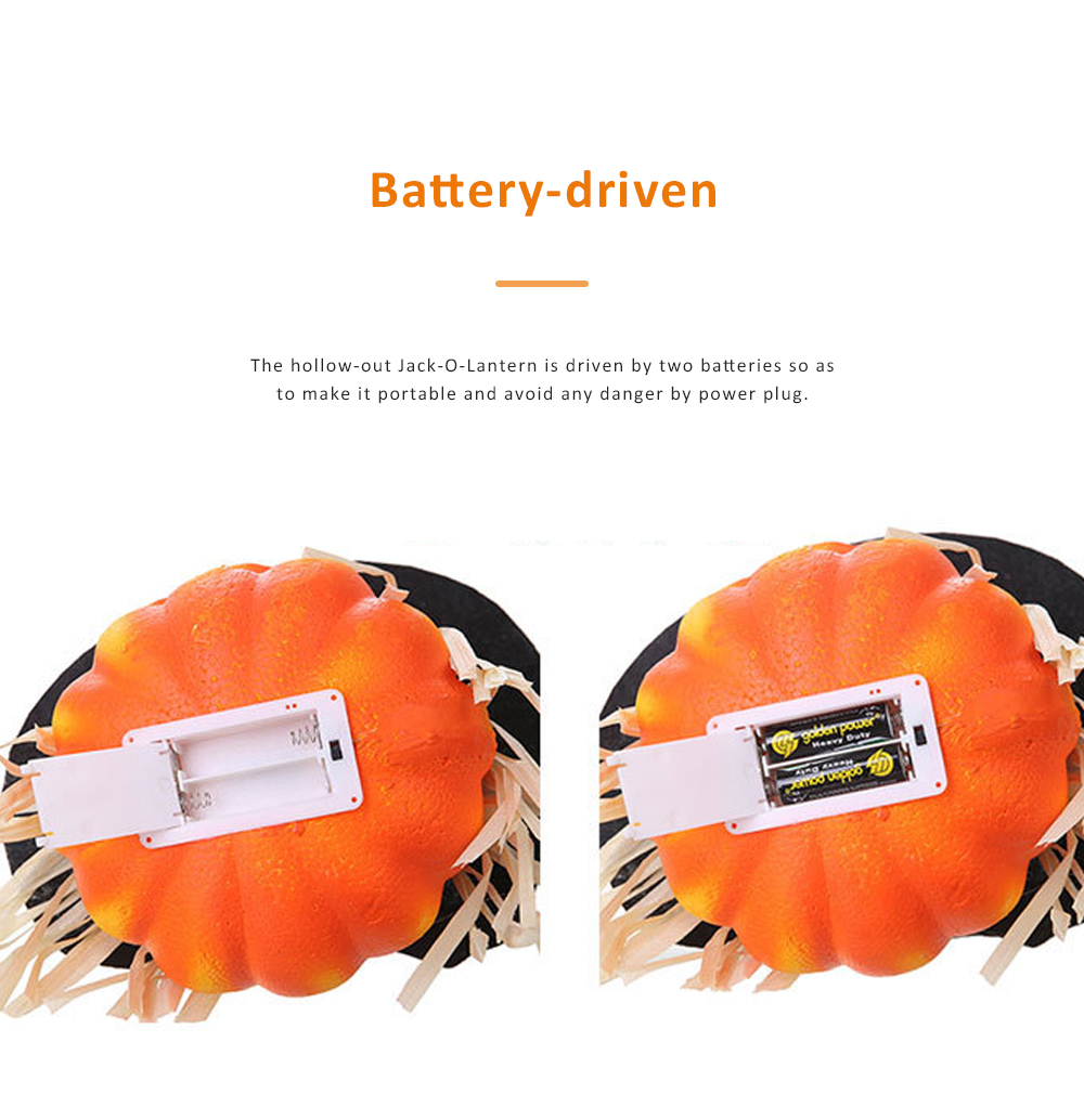 Hollow-out Jack-O-Lantern for Halloween Haunted House Foam-made Battery Driven Pumpkin Light Smiling Face Pumpkin Lamp 5