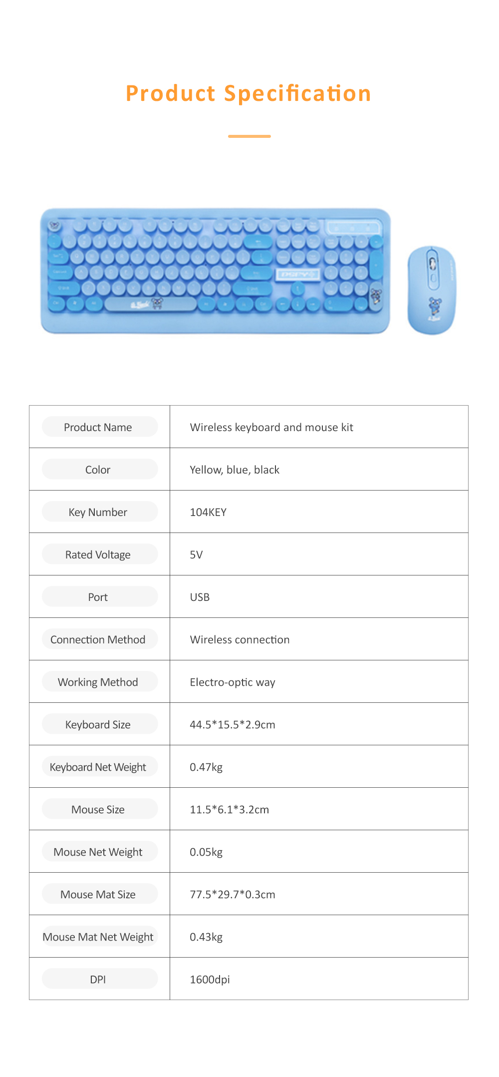 Wireless Keyboard Mouse Kit Waterproof Keyboard and Mute Mouse Compatible for Windows Tablet Computer MAC IOS Android and More 8